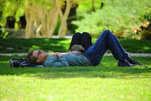 man napping